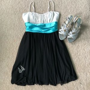 White + Black Short Formal Dress with Blue Detail